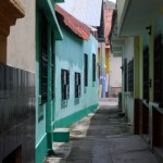 Typical street in Flores, Guatemala