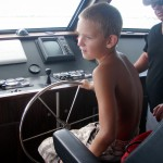 Tigger at the helm of the Utila Aggressor II