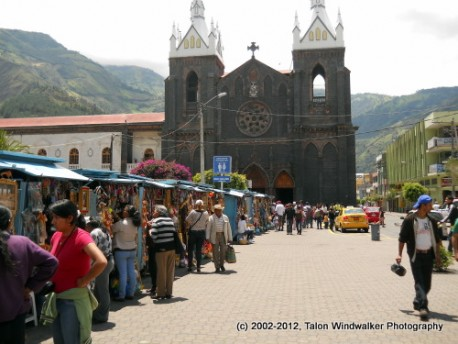 Open air market in Banos, Ecuador