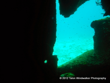 Looking out from the wreck