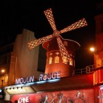 neighborhoods in paris, moulin rouge, nighttime, paris