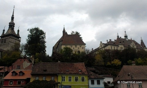 Looking up at the citadel of Sighisoara