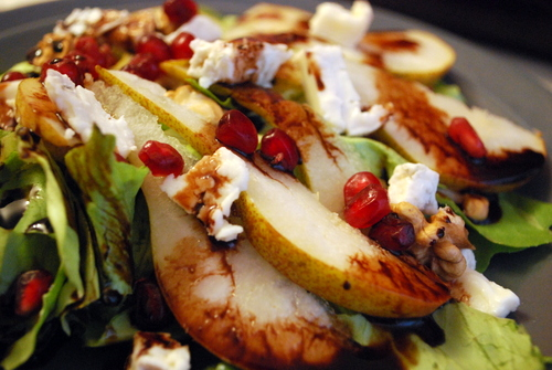 Pear, gorgonzola, and walnut salad