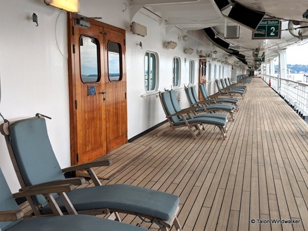 alaska cruise, lower promenade, walking, sitting